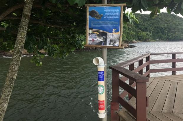 TAMAR Ubatuba instala coletores de resíduos de pesca amadora