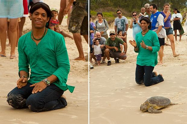 Stanley Jordan participa de soltura de tartaruga marinha reabilitada
