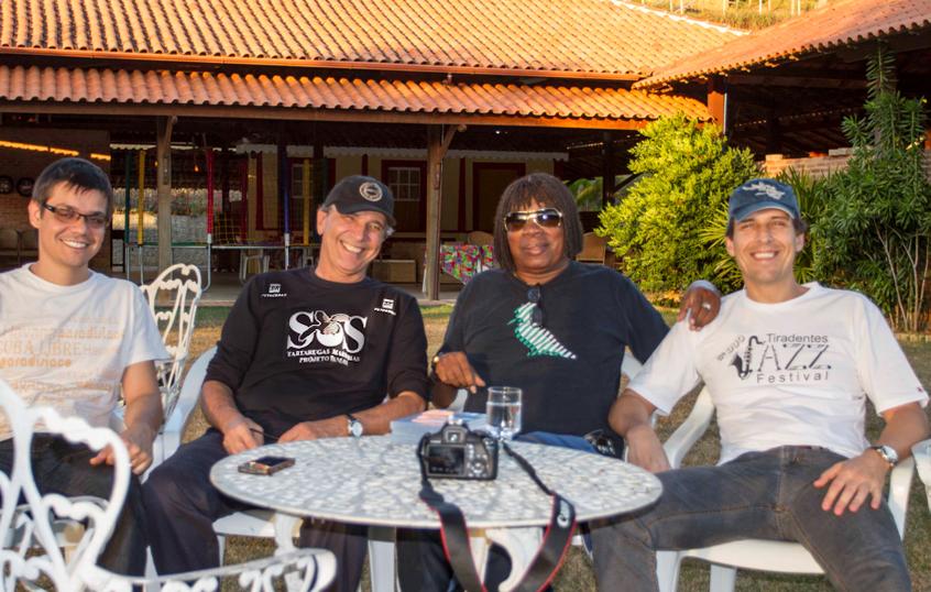 Aldo Torres, Guy Marcovaldi, Milton Nascimento e Leandro Scio na Fazenda Ouro Verde, MG.
